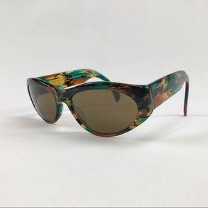 Carolina Herrera Green Tortoise Oval Sunglasses